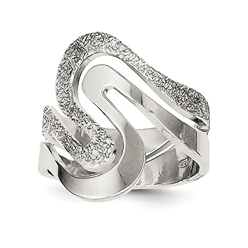 (925 Sterling Silver Textured Swirl Band Ring Size 6.00 Fine Jewelry Gifts For Women For Her)