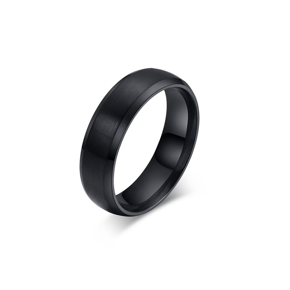 Zealmer Men's Classic Black Titanium Steel Ring Plain Wedding Band Ring Polished Charm Matte Finished