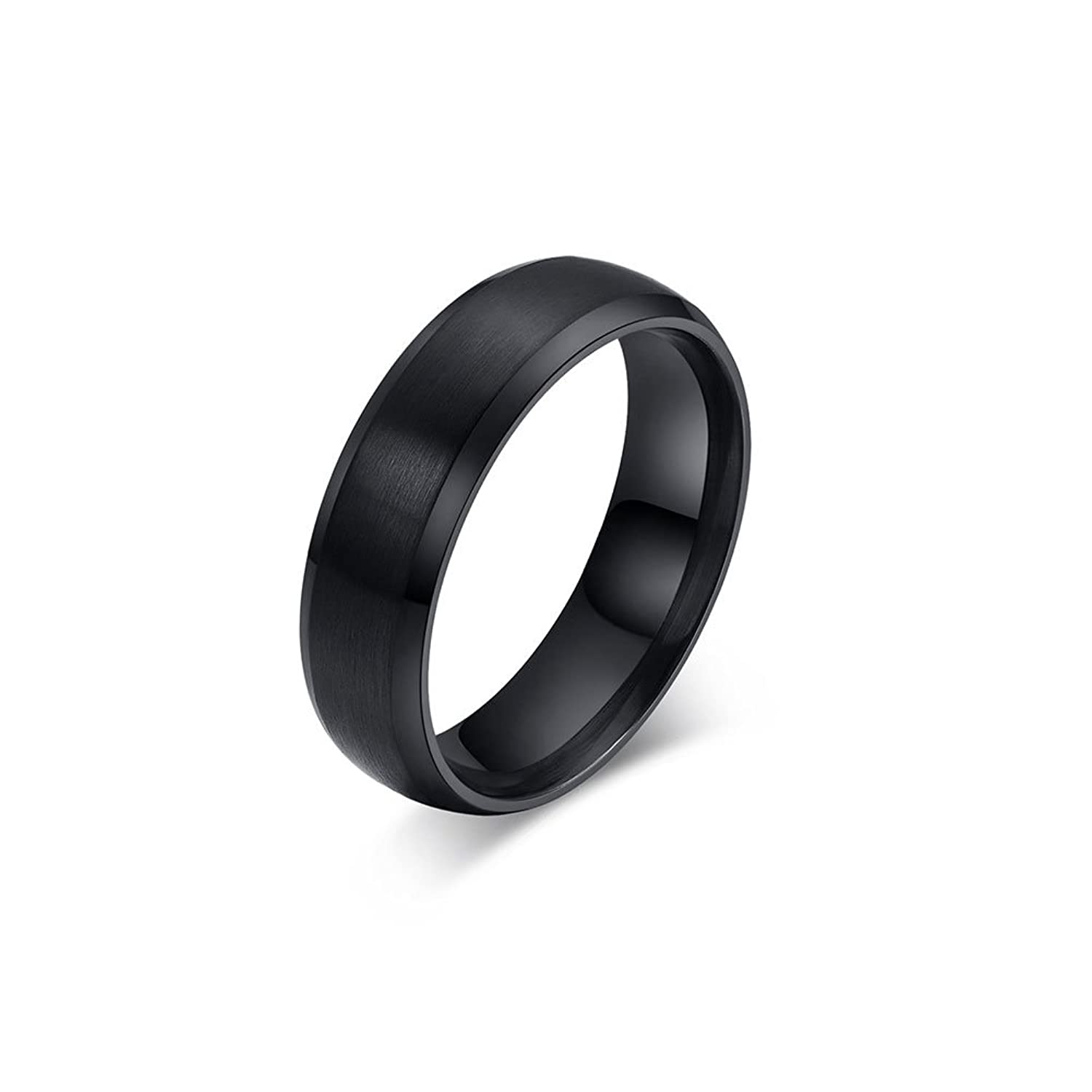 Zealmer Mens Classic Black Titanium Steel Ring Plain Wedding Band Polished Charm Matte Finished