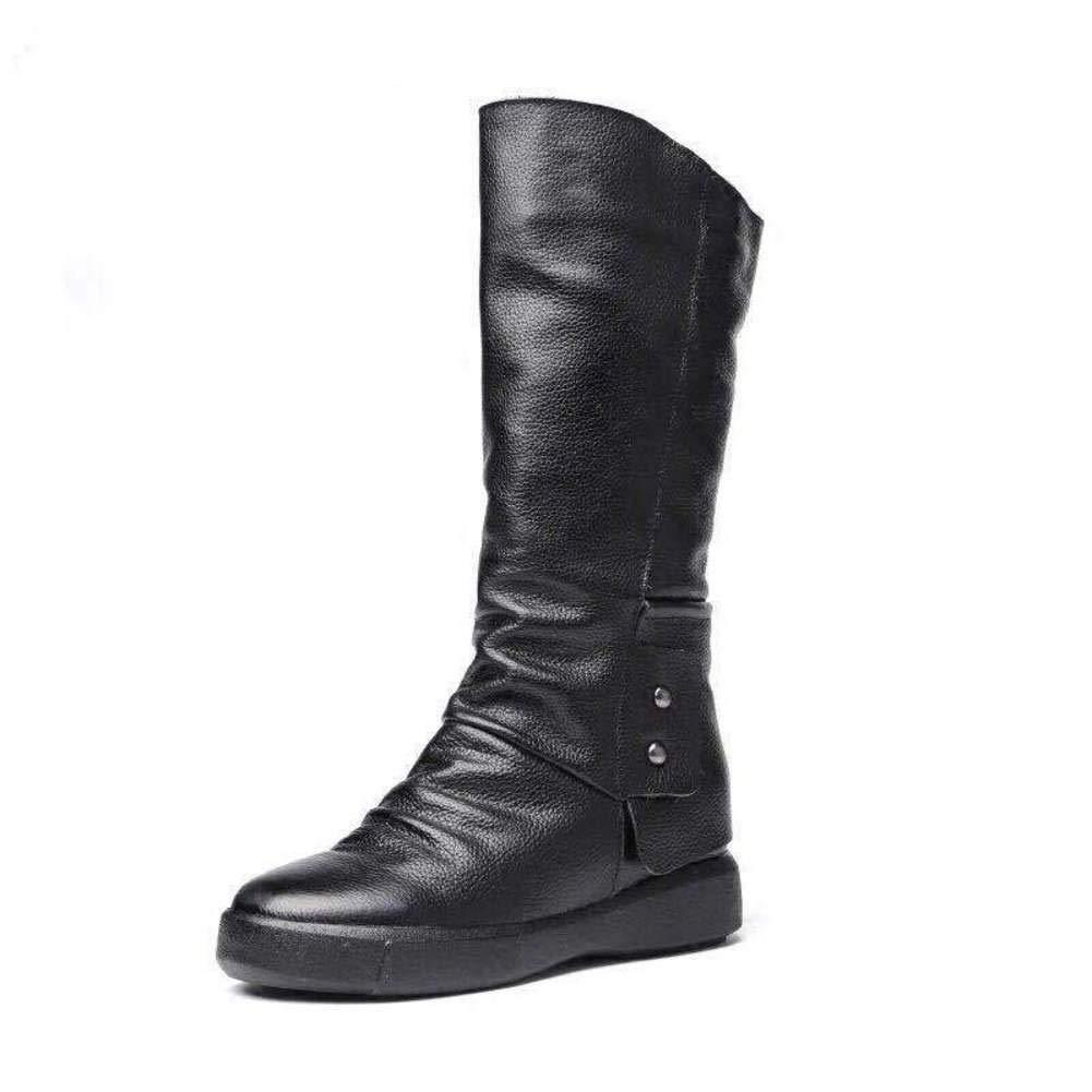 Damen Winterstiefel Warmen Anti-rutsch Flachboden Mittleren Stiefel