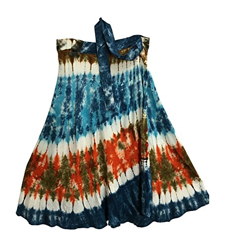 Yoga Trendz Indian Bohemian Elephant Ethnic Print Wrap Around Hippie Gypsy Mid-Length Skirt (Tie-Dye ()