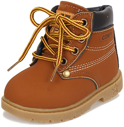 Poppin Kicks Boy Girl Soft Toe Waterproof PU Leather Insulated Winter Snow Boots 6 M US Toddler Brown