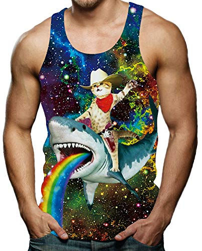 Cool Tank Tops for Men Summer Sleeveless Shirt Galaxy Cat Riding Shark Rex T-Shirt - T-shirt Gay Funny