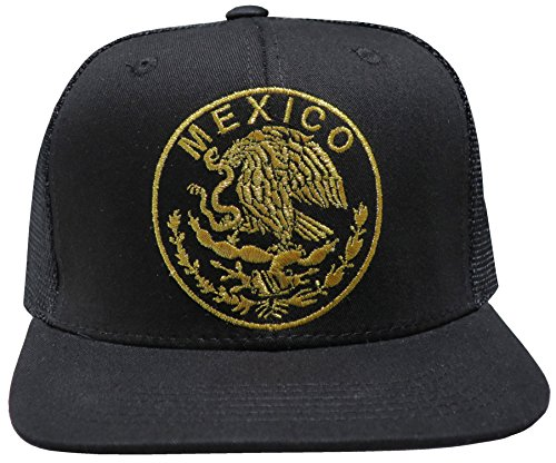 Leader of Generation Hecho EN Mexico Mexican Flag States Eagle Flatbill Snapback Hat (MEX01 Black)