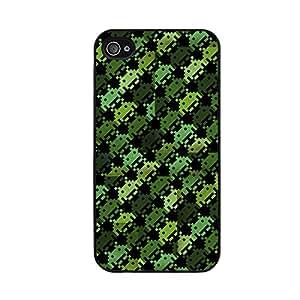 Funda carcasa para Apple iPhone 4 4S diseño estampado space invaders verde borde negro
