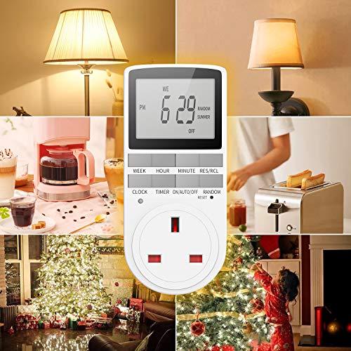 24 Hour 7 Day Electronic Programmable Plug Xmas Tree Garden Lights Display Lamp