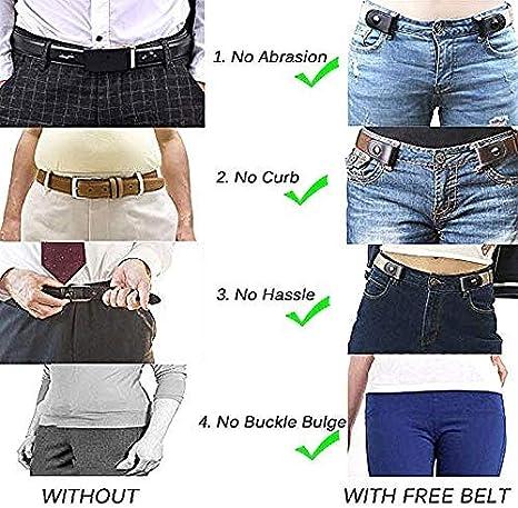 Boolavard No Buckle Stretch Belt f/ür Damen//Herren Elastischer G/ürtel bis 48f/ür Jeans Hosen