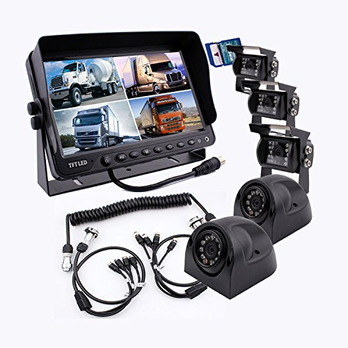Camnex The 5th Wheel Camera Monitor System Build-in DVR Recorder with Quad Split Screen, 9