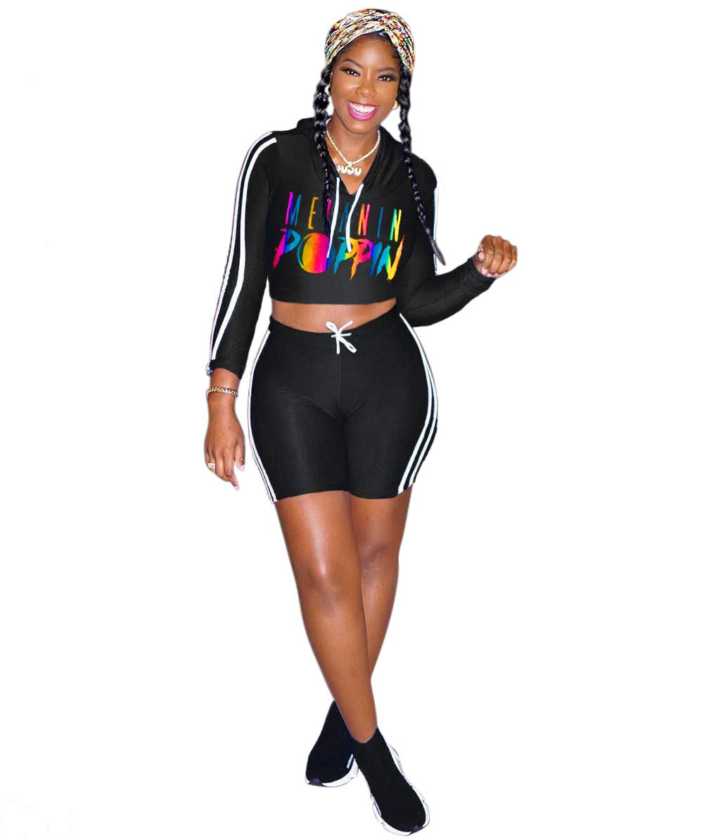 YIHUAN Women's African Long Sleeve Two Piece Set Short Pants Casual Outfit Sportswear