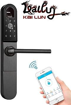 KAILUN Smart Lock, Bluetooth Wifi Puerta Corredera De Aluminio Cerradura De Puerta Biométrica De Huellas Dactilares Con Contraseña De Aplicación Desbloqueo De Tarjeta RFID Y Llave Mecánica Oculta: Amazon.es: Bricolaje y herramientas