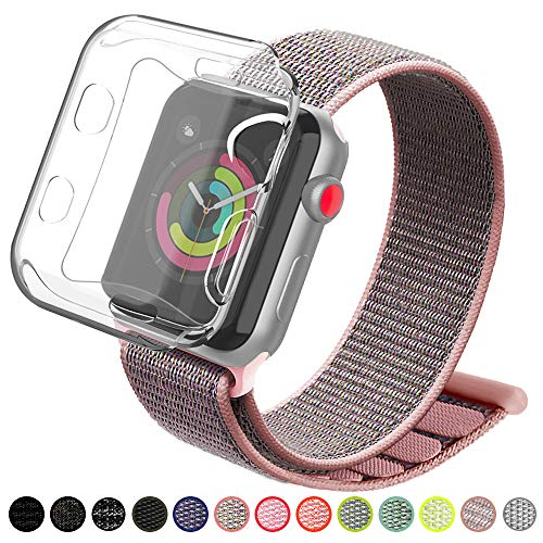 YIUES Compatible  with  Apple Watch Band 38mm 42mm, Soft Breathable Lightweight Nylon Sport Loop Replacement iWatch Band Compatible with  Apple Watch Series 3/2/1