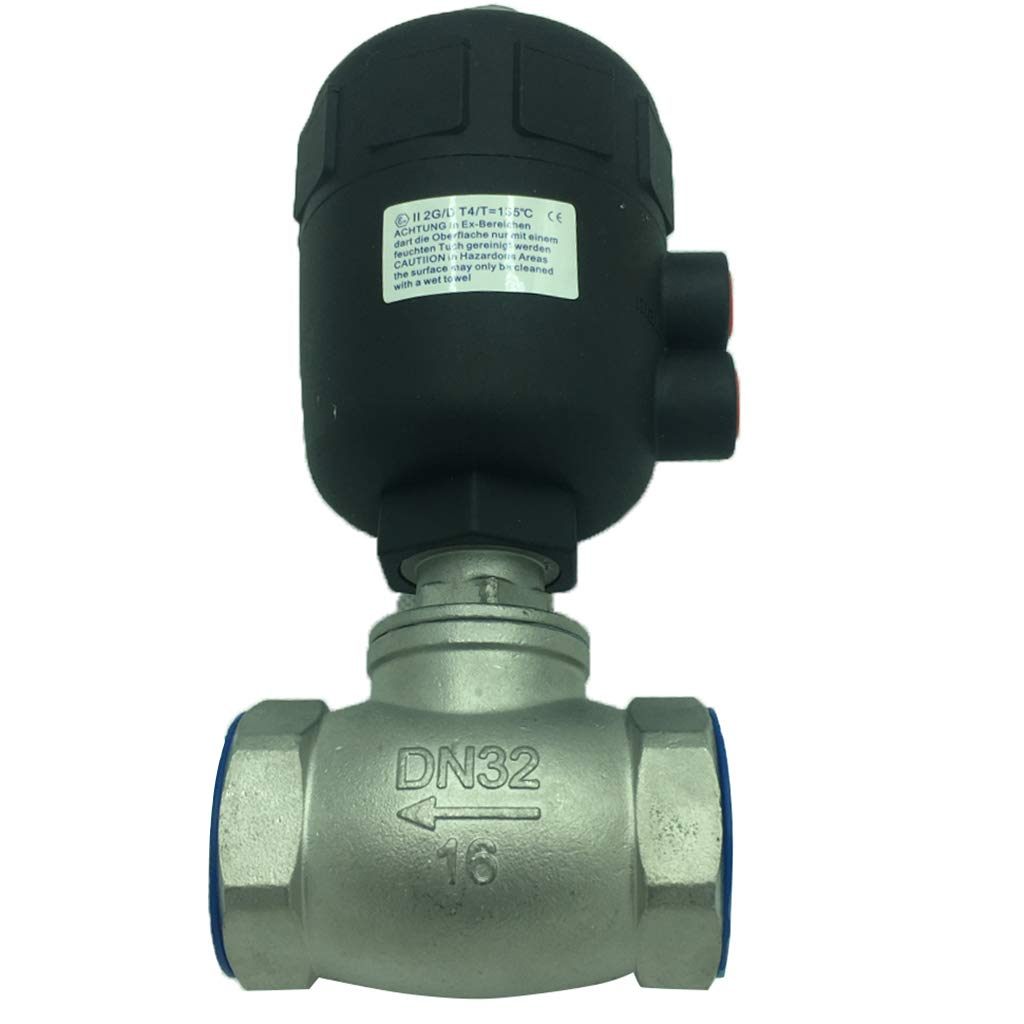 gazechimp Pneumatic Straight-through Valve Taps Spigot For Ton Barrels - Silver+Black, T-valve DN32 by gazechimp