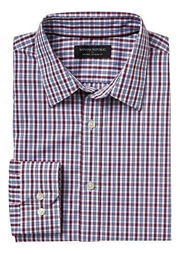 banana-republic-mens-non-iron-standard-fit-button-down-shirt-large-burgundy-check-plaid
