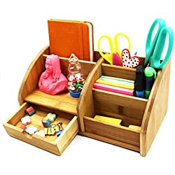 PAG Office Supplies Bamboo Desk Organizer Desktop Pen Holder Accessories Storage Caddy with Drawer, 7 Compartment, Natural