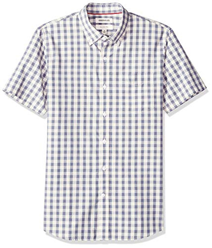 - Goodthreads Men's Slim-Fit Short-Sleeve Plaid Poplin Shirt, -ivory check, XXX-Large