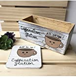 Caffeination Station Coffee Lover Gift Set, Bin and Coasters