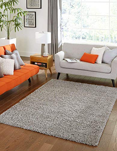 Unique Loom Solo Solid Shag Collection Modern Plush Cloud Gray Area Rug (5′ 0 x 8′ 0)