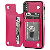 iPhone X Wallet Case with Card Holder,OT ONETOP Premium PU Leather Kickstand Card Slots Case,Double Magnetic Clasp and Durable Shockproof Cover (Pink)
