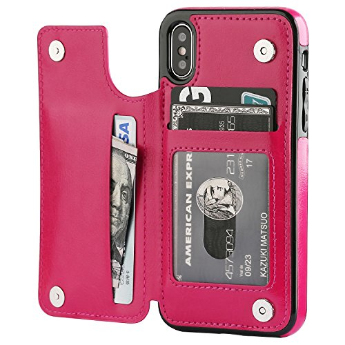 iPhone Xs iPhone X Wallet Case with Card Holder,OT ONETOP Premium PU Leather Kickstand Card Slots Case,Double Magnetic Clasp and Durable Shockproof Cover (Pink)