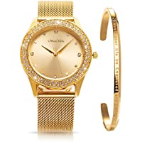 ManChDa Womens Wrist Watch Crystal Mesh Stainless Steel Belt Ladies Quartz Diamond Classic Fashion Romatic + Jewelry Cuff Bracelet Set