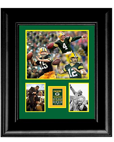 Gatsbe Exchange Framed 16 x 20 Photo Collage Green Bay Packers Super Bowl Quarterbacks Starr Rogers Favre UNFRAMED Double MATTED Vince ()