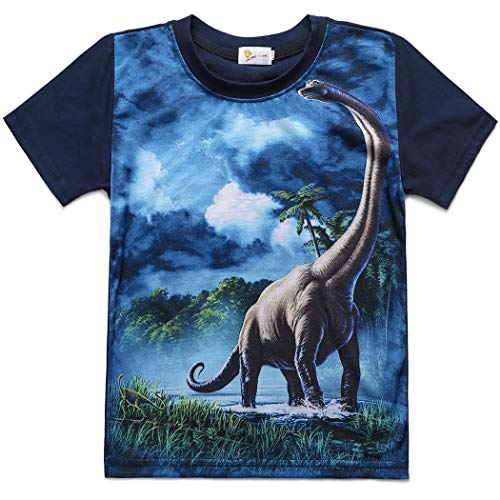 - Little Boys T-Shirt Dinosaur T Rex Short Sleeve Crewneck Cotton Tee Shirt 3-8 Years
