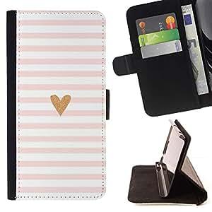 For Samsung Galaxy Core Prime / SM-G360 Case , Corazón Rosa Blanco Amor minimalistas Líneas- la tarjeta de Crédito Slots PU Funda de cuero Monedero caso cubierta de piel