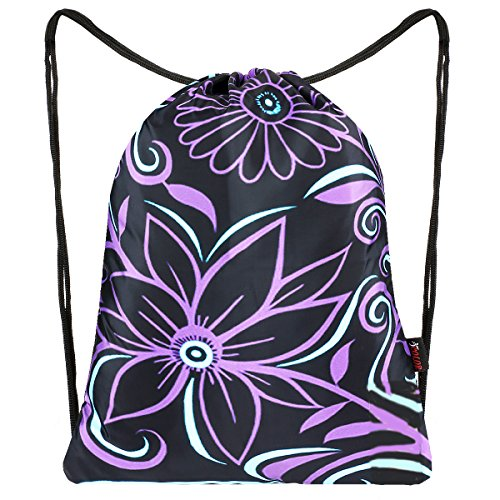 Dance Drawstring - iColor Sackpack,Drawstring Backpacks,Stylish Multipurpose Girls Nylon Drawstring Bags Gym Bags ,Teen Dance Bag, Lightweight Gym Bag for Women Cycling Hiking,Team Training Gymsack (Purple Flower)