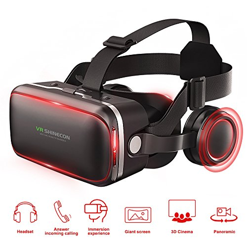 Pansonite 3D VR Headset Virtual Reality Glasses Panoramic View Immersive Experience VR Headset HD VR Goggles for 3D Movies and VR Games With 360 Built-in Stereo Headphones