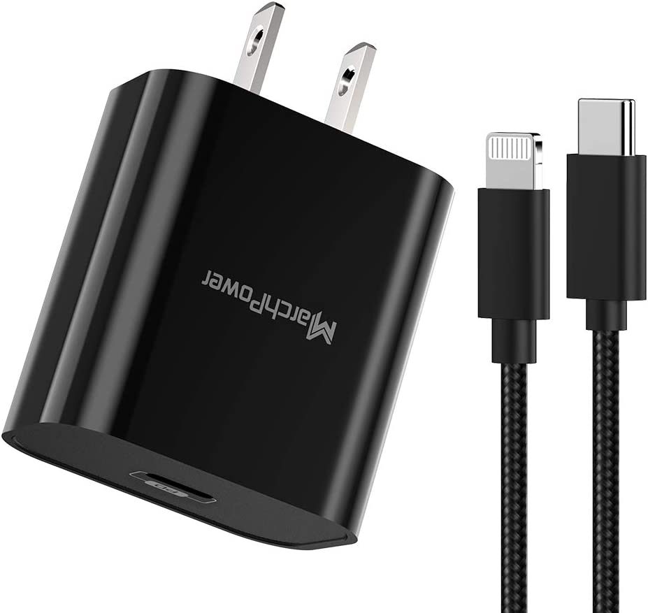 iPhone Fast Charger - MFi Certified - 18W Type C Power Adapter Wall Plug with 6ft C to Lightning Cable Quick Charge Sync Cord Compatible with iPhone SE 11 Pro MAX X XS XR 8 AirPods Pro iPad Black