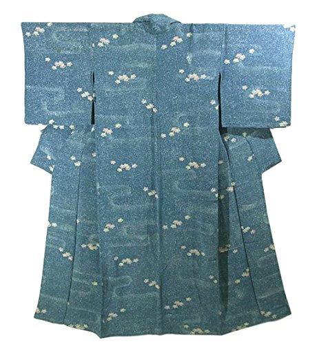 リサイクル 着物 小紋 ヱ霞に小花 ひとえ 正絹 裄61cm 身丈149cm