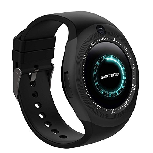 Bluetooth Smart Watch With Camera Touch Screen Smart Wrist Watch With Sim Card Slot Fitness Tracker Pedometer For Android Smartphone Samsung Sony Men Women Kids (Black) by Themoemoe