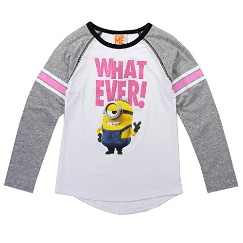 Despicable Me Big Girls' Carl Minion Long Sleeve Raglan Tee (10/12)