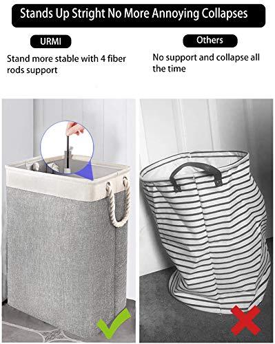 51Bam37dcNL URMI Wäschekorb mit Griffen, zusammenklappbarer Wäschekorb, Wäschekorb, integriertes Futter mit Seilgriffen, Halterungen…