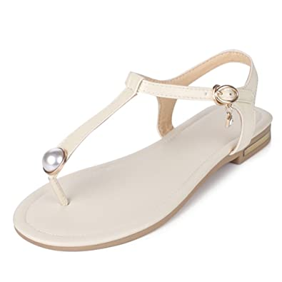 MERUMOTE Damen Niedrige Ferse Flache Metall Schnalle Dreieck Sommer Sandale Schuhe Schwarz 40 EU