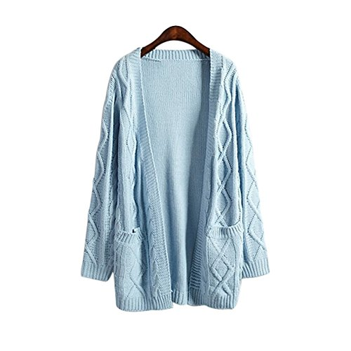New Women Harajuku Warm Sweater Coat knit Open Front Cardigan With Pockets (Light Blue)