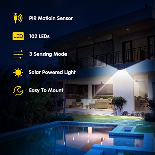 LITOM Enhanced 102 LED Super Bright Solar Lights Outdoor, Solar Motion Sensor Lights with 270°Wide Angle, IP65 Waterproof, Easy-to-Install Security Lights for Front Door, Yard, Garage, Deck by Litom (Image #3)