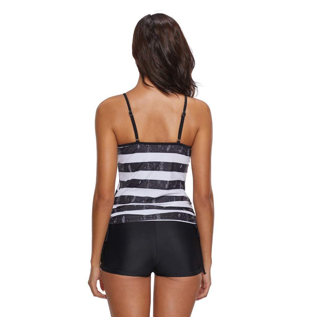 SPORTTIN Womens Racerback Tankini Set Boyshort Two Piece Swimsuit Plus Size American Flag Bathing Suits