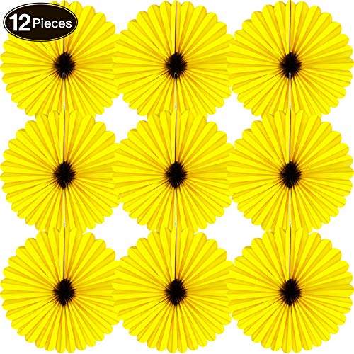 Tissue Paper Wreaths - 12 Pieces Paper Fans Sunflower Fan 18 Inch Yellow Circular Pattern Paper Wreath for Birthday Wedding Graduation Accessories
