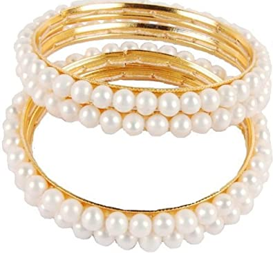 8eacd4b52e2 Trendy Souk ---Pretty White 2 strings Real Freshwater Hyderabadi Pearls AAA  Quality Bangle Set of 2  Amazon.in  Jewellery