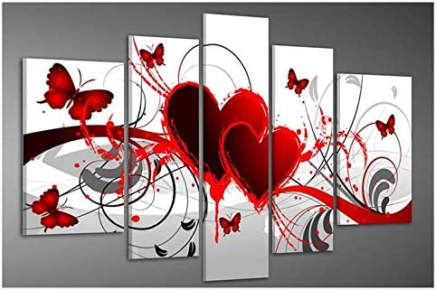 Wieco Art Red Flower Love Butterfly Abstract Oil Paintings on Canvas Wall Art Ready to Hang for Living Room Bedroom Home Decorations Modern 5 Panels Stretched and Framed 100 Hand Painted Artwork