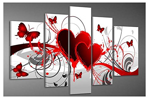 Wieco Art Red Flower Love Butterfly Abstract Oil Paintings on Canvas Wall Art Ready to Hang for Living Room Bedroom Home Decorations Modern 5 Panels Stretched and Framed 100% Hand Painted Artwork