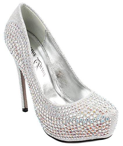 Bella Luna Nataly Platform Pumps Rhinestone Glitter Stiletto Sky High Heels Silver 10 -