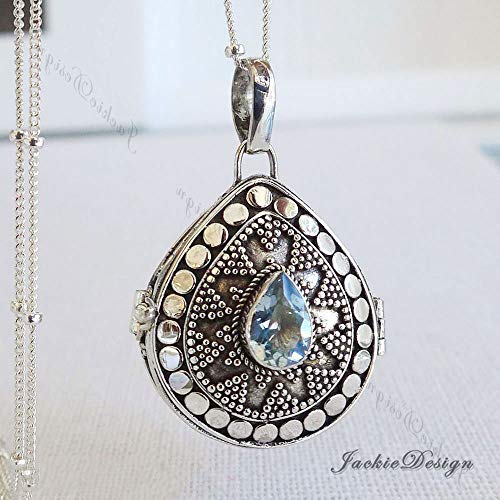 Tear Drop Blue Topaz Container Locket Sterling Silver Pendant 20