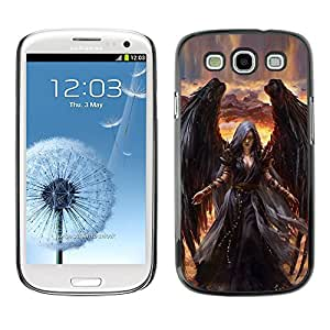 For SAMSUNG Galaxy S3 III / i9300 / i747 Case , Death Drawing Black Wings Witch - Diseño Patrón Teléfono Caso Cubierta Case Bumper Duro Protección Case Cover Funda