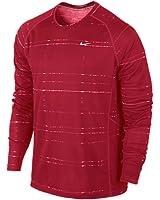Nike Men's Dri Fit Printed Miler Long Sleeve Running Shirt 619416
