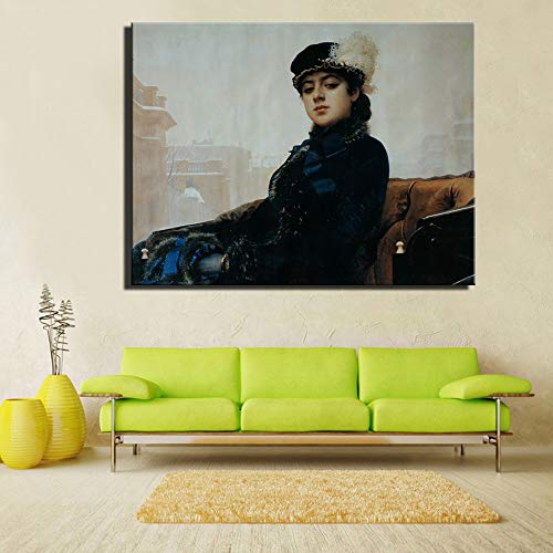 Cuadros Modernos Impresion de Imagen ArtisticaChica rusa famosa anonima replica Ivan Nikolaevich Kramskoy retrato clasico 40x50cmImpresion Artistica Imagen Grafica Decoracion