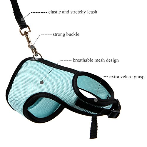 Picture of MEWTOGO 2 pcs Adjustable and Breathable Bunny Leash and Harness with M and L Size