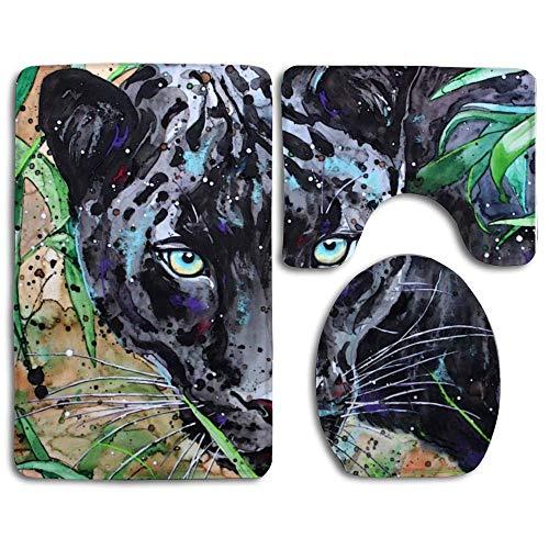 Black Panther Big Cat - 3-Piece Soft Bath Rug Set Includes Bathroom Mat Animal Black Panther Cats Contour Rug Lid Toilet Cover Home Decorative Doormat