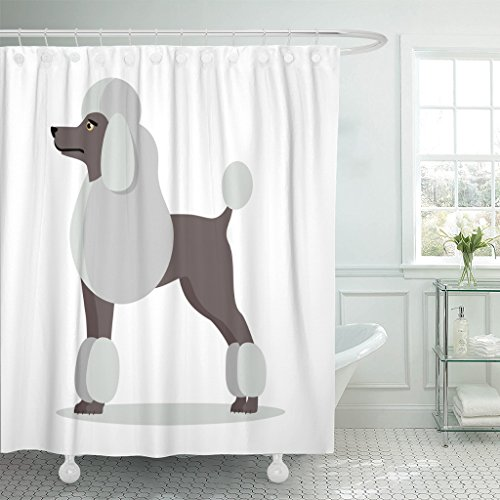 VaryHome Shower Curtain White French Poodle in Stand on Dog Flat Style Side View Standard Design Cartoon Character Pet Animal Waterproof Polyester Fabric 78 x 72 Inches Set with (White Standard Poodle)